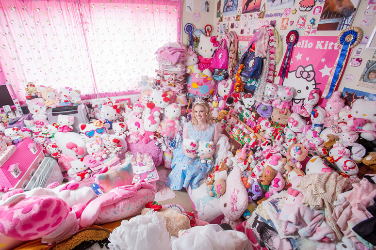 Natasha Goldsworth, 29, from Exeter, who has a massive collection of Hello Kitty merchandise.  A pretty blonde told yesterday how she can't find a man - because her flat is filled with 50,000 Pound worth of 'Hello Kitty' collectibles. Horse trainer Natasha Goldsmith, 29, got hooked on the cartoon character as a teenager and has spent 15 years collecting 10,000 items. Every room of her tiny flat is now crammed with Hello Kitty accessories including jewellery, furniture, clothing, curtains, and 4,000 cuddly toys. Her 'Kitty Kingdom' is a massive turn-off to blokes - but Natasha is happy to give them the push if they don't accept her obsession. Photo by SWNS/ABACAPRESS.COM
